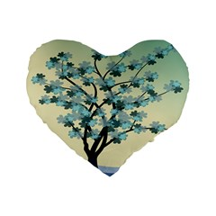 Branches Field Flora Forest Fruits Standard 16  Premium Flano Heart Shape Cushions
