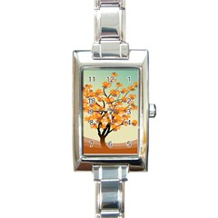 Branches Field Flora Forest Fruits Rectangle Italian Charm Watch by Nexatart