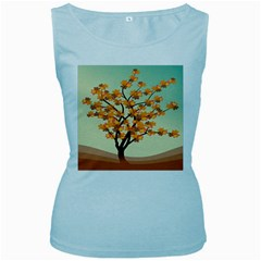 Branches Field Flora Forest Fruits Women s Baby Blue Tank Top