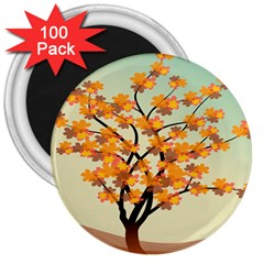 Branches Field Flora Forest Fruits 3  Magnets (100 Pack)