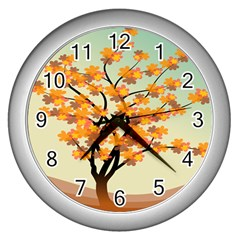 Branches Field Flora Forest Fruits Wall Clocks (silver)  by Nexatart