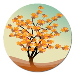Branches Field Flora Forest Fruits Magnet 5  (round)