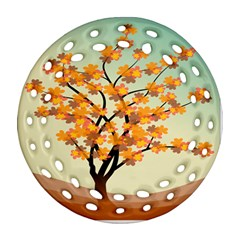 Branches Field Flora Forest Fruits Ornament (round Filigree)