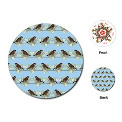 Sparrows Playing Cards (round)  by SuperPatterns