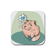 Cat Animal Fish Thinking Cute Pet Rubber Square Coaster (4 Pack)