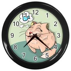 Cat Animal Fish Thinking Cute Pet Wall Clocks (black) by Nexatart