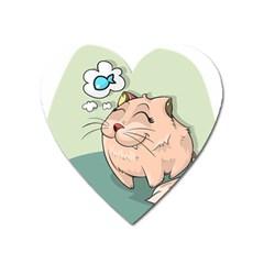 Cat Animal Fish Thinking Cute Pet Heart Magnet by Nexatart