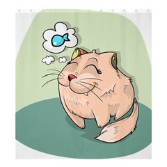 Cat Animal Fish Thinking Cute Pet Shower Curtain 66  X 72  (large)  by Nexatart