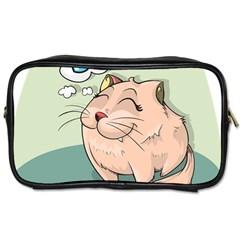 Cat Animal Fish Thinking Cute Pet Toiletries Bags