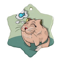 Cat Animal Fish Thinking Cute Pet Ornament (snowflake) by Nexatart