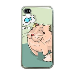 Cat Animal Fish Thinking Cute Pet Apple Iphone 4 Case (clear) by Nexatart