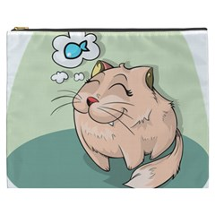 Cat Animal Fish Thinking Cute Pet Cosmetic Bag (xxxl)  by Nexatart