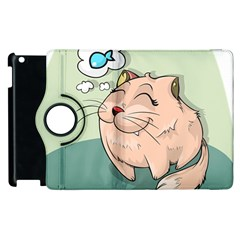 Cat Animal Fish Thinking Cute Pet Apple Ipad 2 Flip 360 Case by Nexatart