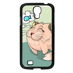Cat Animal Fish Thinking Cute Pet Samsung Galaxy S4 I9500/ I9505 Case (black) by Nexatart
