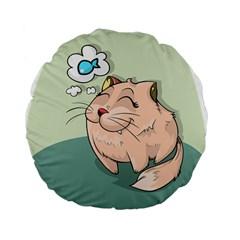 Cat Animal Fish Thinking Cute Pet Standard 15  Premium Flano Round Cushions by Nexatart