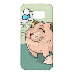 Cat Animal Fish Thinking Cute Pet Samsung Galaxy S7 Edge Hardshell Case by Nexatart