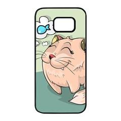 Cat Animal Fish Thinking Cute Pet Samsung Galaxy S7 Edge Black Seamless Case by Nexatart