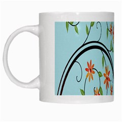 Branch Floral Flourish Flower White Mugs by Nexatart