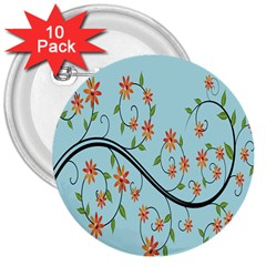 Branch Floral Flourish Flower 3  Buttons (10 Pack)
