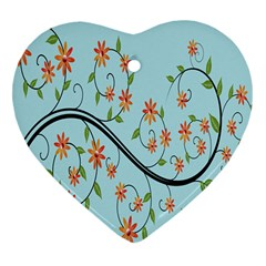 Branch Floral Flourish Flower Heart Ornament (two Sides) by Nexatart