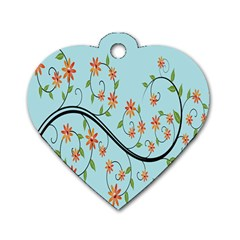 Branch Floral Flourish Flower Dog Tag Heart (two Sides)