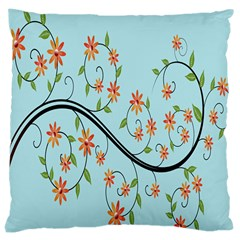 Branch Floral Flourish Flower Large Cushion Case (two Sides) by Nexatart