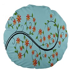 Branch Floral Flourish Flower Large 18  Premium Flano Round Cushions by Nexatart