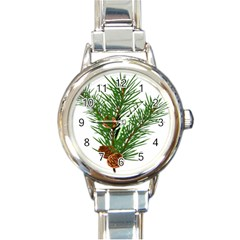 Branch Floral Green Nature Pine Round Italian Charm Watch