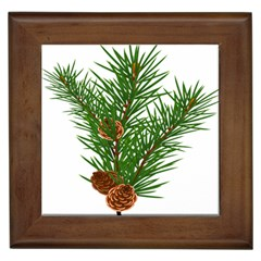 Branch Floral Green Nature Pine Framed Tiles