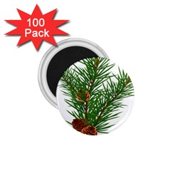 Branch Floral Green Nature Pine 1 75  Magnets (100 Pack)  by Nexatart