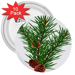 Branch Floral Green Nature Pine 3  Buttons (10 Pack)  by Nexatart