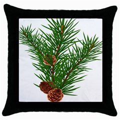 Branch Floral Green Nature Pine Throw Pillow Case (black)