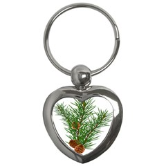 Branch Floral Green Nature Pine Key Chains (heart)