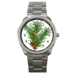 Branch Floral Green Nature Pine Sport Metal Watch