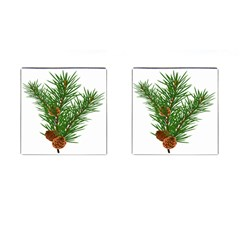 Branch Floral Green Nature Pine Cufflinks (square) by Nexatart