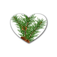 Branch Floral Green Nature Pine Rubber Coaster (heart)  by Nexatart