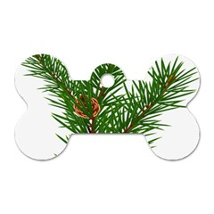 Branch Floral Green Nature Pine Dog Tag Bone (one Side)