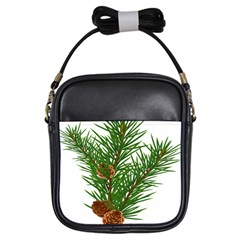 Branch Floral Green Nature Pine Girls Sling Bags by Nexatart
