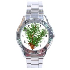 Branch Floral Green Nature Pine Stainless Steel Analogue Watch