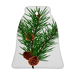 Branch Floral Green Nature Pine Ornament (bell)