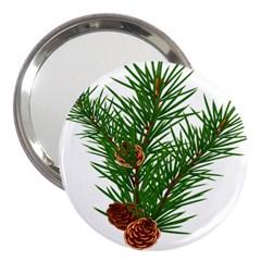 Branch Floral Green Nature Pine 3  Handbag Mirrors by Nexatart