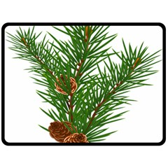 Branch Floral Green Nature Pine Double Sided Fleece Blanket (large)  by Nexatart