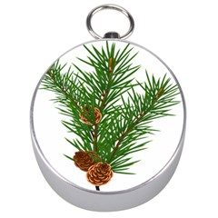Branch Floral Green Nature Pine Silver Compasses
