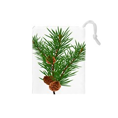 Branch Floral Green Nature Pine Drawstring Pouches (small)  by Nexatart