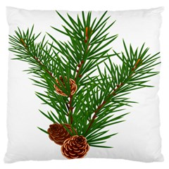 Branch Floral Green Nature Pine Large Flano Cushion Case (two Sides) by Nexatart