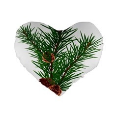 Branch Floral Green Nature Pine Standard 16  Premium Flano Heart Shape Cushions by Nexatart