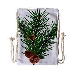 Branch Floral Green Nature Pine Drawstring Bag (small)