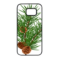 Branch Floral Green Nature Pine Samsung Galaxy S7 Edge Black Seamless Case