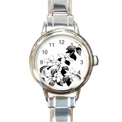 Ecological Floral Flowers Leaf Round Italian Charm Watch
