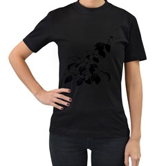 Ecological Floral Flowers Leaf Women s T Shirt (black) (two Sided)